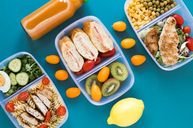 Nourishing food on blue background