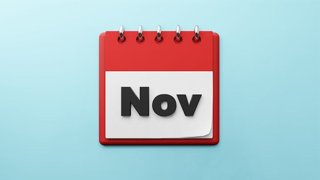 紙の卓上カレンダーの11月3dレンダリング
