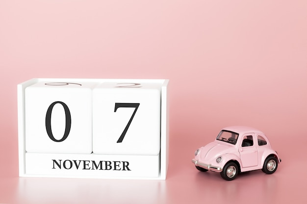 November 07th. day 7 of month. calendar cube with car