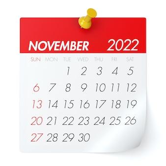 2022년 11월 - 달력. 흰색 배경에 고립. 3d 일러스트레이션