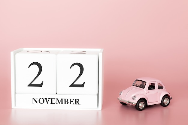 November 22nd. day 22 of month. calendar cube with car
