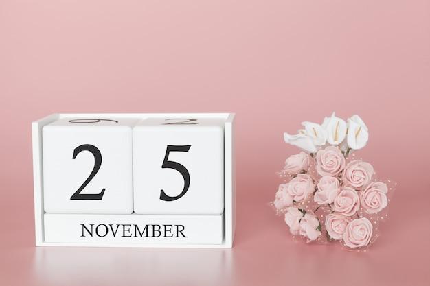 November 25th calendar cube on pink wall