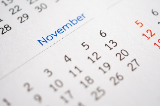 November calendar page with months and dates business planning