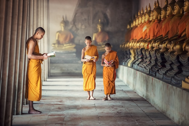 Novice monks reading book inside monastery at ayutthaya province, thailand