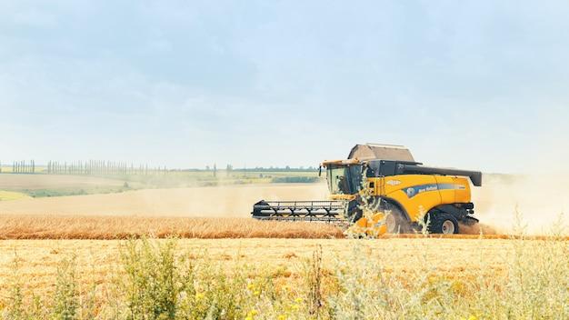 Новоукраинка, украина, 30 июля 2021 г. - комбайн убирает пшеничное поле.