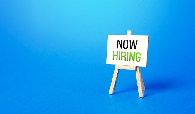 Now hiring easel recruitment new employee workers search specialists and qualified professionals