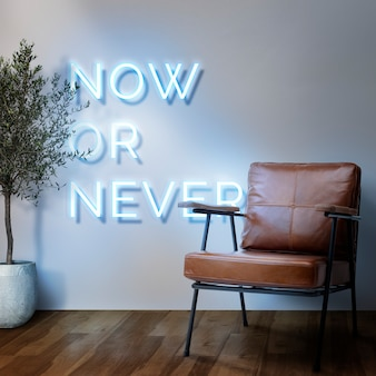 Now or never neon sign in authentic cafe