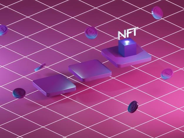 ブロックチェーン内の代替不可能なトークンのntf抽象3dレンダリング。イーサリアム暗号通貨オークション。