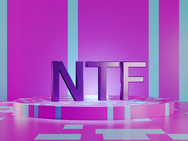 Ntf text on vivid tech violet background. non-refundable token. 3d render.