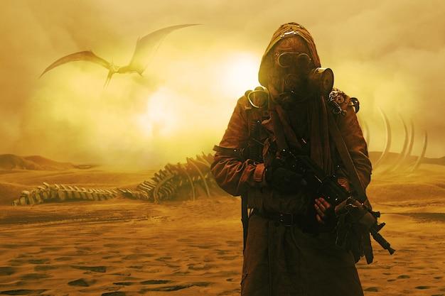 Ядерный постапокалипсис. жизнь после концепции судного дня. мрачный выживший с самодельным оружием и противогазом. пустыня и мертвые пустоши на заднем плане
