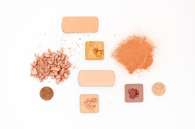 Nude cosmetics on white background