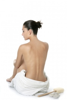 Nude sit woman back with white towel