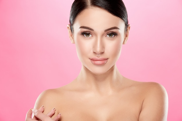Nude woman with perfect skin posing, beauty and skin care concept