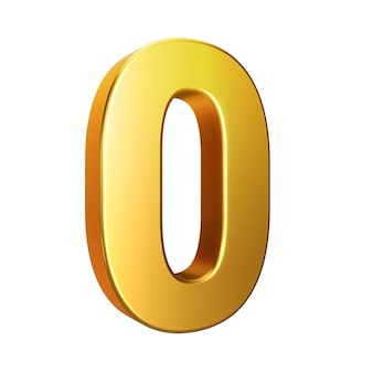 Number 0, alphabet. golden 3d number isolated on a white background with clipping path. 3d illustration.