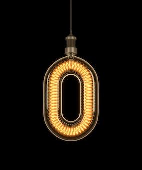 Number 0, alphabet made of light bulb.