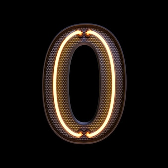 番号0、アルファベット。ネオンレトロ3d番号は、クリッピングパスで黒の背景に分離されました。 3dイラスト。