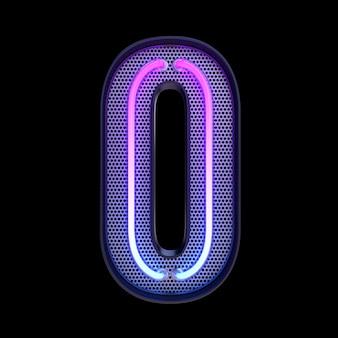 숫자 0, 알파벳. 클리핑 패스와 함께 검은 배경에 고립 된 네온 복고풍 3d 번호. 3d 그림입니다.