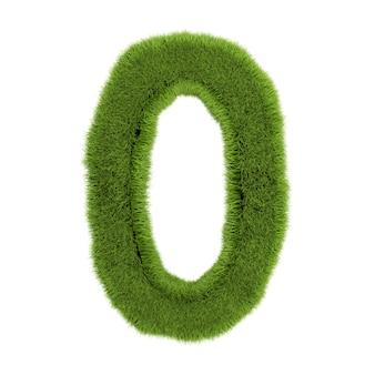番号0、白い背景で隔離の草で作られています。シンボルは緑の草で覆われています。エコレター。 3dイラスト。