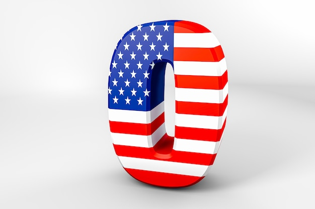 Number 0 with the american flag. 3d rendering - illustration