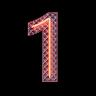 Number 1, alphabet. neon retro 3d number isolated on a black background with clipping path. 3d illustration.