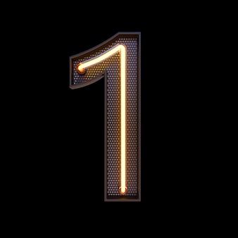 Номер 1, алфавит. неоновый ретро 3d номер, изолированных на черном фоне с обтравочным контуром. 3d иллюстрации.