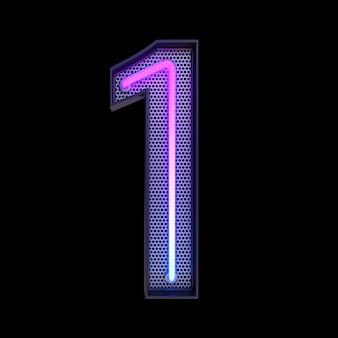 숫자 1, 알파벳. 클리핑 패스와 함께 검은 배경에 고립 된 네온 복고풍 3d 번호. 3d 그림입니다.