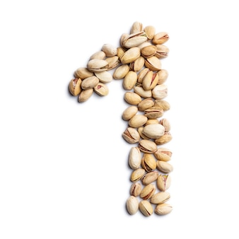 Number 1 made from unpeeled pistachios