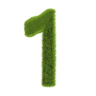 ナンバー1、白い背景で隔離の草で作られました。シンボルは緑の草で覆われています。エコレター。 3dイラスト。