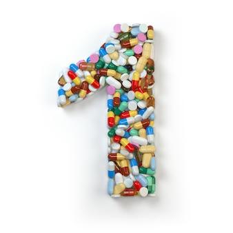 白で分離された薬の丸薬カプセル錠剤と水疱からのナンバーワン