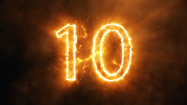 Number 10 in flames