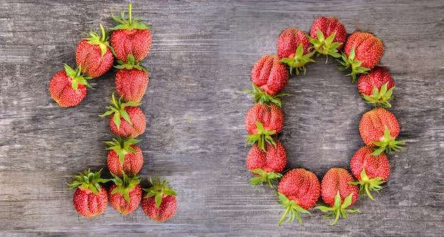 Number 10 of strawberries