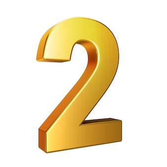 Number 2, alphabet. golden 3d number isolated on a white background with clipping path. 3d illustration.