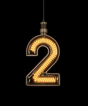 Номер 2, алфавит из лампочки.