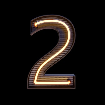 Number 2, alphabet. neon retro 3d number isolated on a black background with clipping path. 3d illustration.