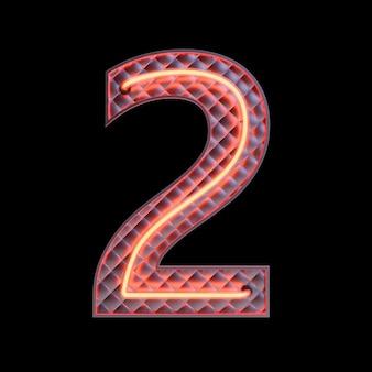 숫자 2, 알파벳. 클리핑 패스와 함께 검은 배경에 고립 된 네온 복고풍 3d 번호. 3d 그림입니다.