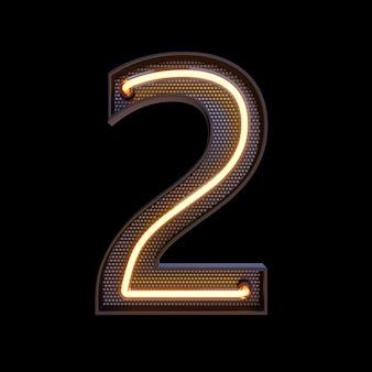 Номер 2, алфавит. неоновый ретро 3d номер, изолированных на черном фоне с обтравочным контуром. 3d иллюстрации.