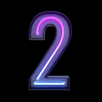 번호 2 알파벳 네온 복고풍 3d 번호 검정색 배경에 고립