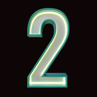Number 2, alphabet. retro 3d number isolated on a black background with clipping path. 3d illustration.