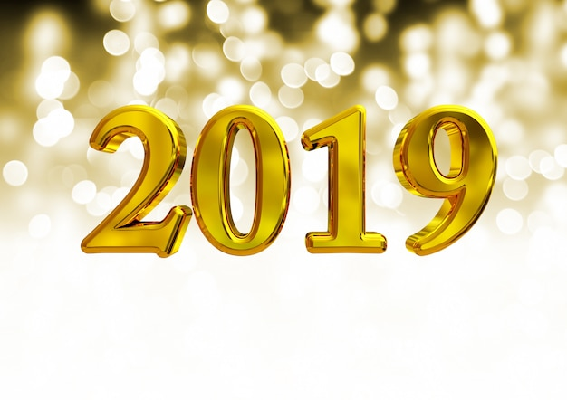 Number 2019, new year over blurred light background