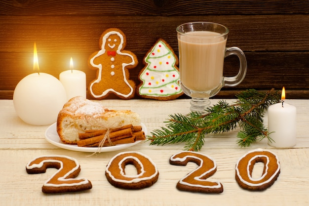 Number 2020 from gingerbread cookies.