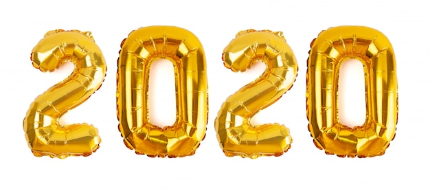 The number 2020 in golden foil balloons isolated on white background for the new year