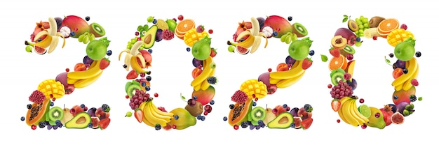 Number 2020 made of tropical and exotic fruits