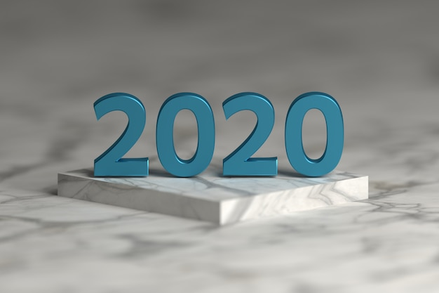 Number of 2020 year in shiny metallic blue texture over pedestal podium  made of marble. happy new year greeting card.