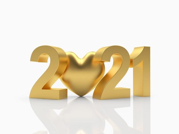 番号2021とゴールドのハートのアイコン