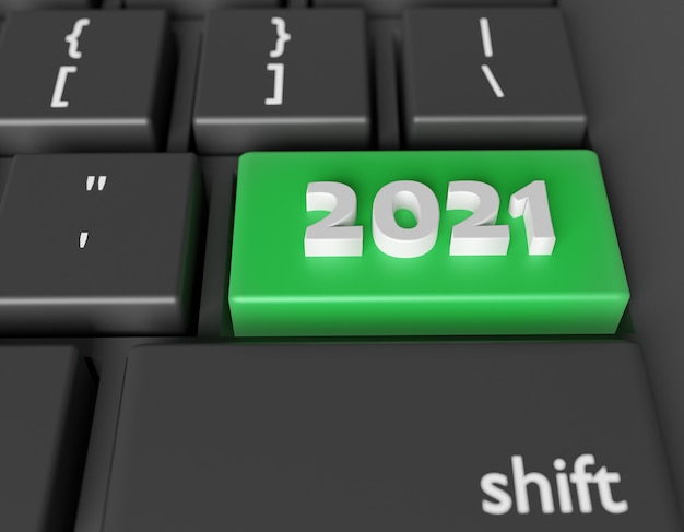 Number 2021 on a computer keyboard. new year image on a computer key enter