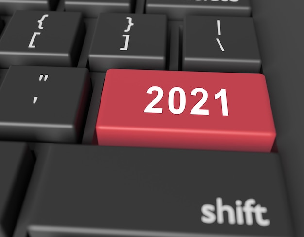 Number 2021 on a computer keyboard. new year image on a computer key enter Premium Photo