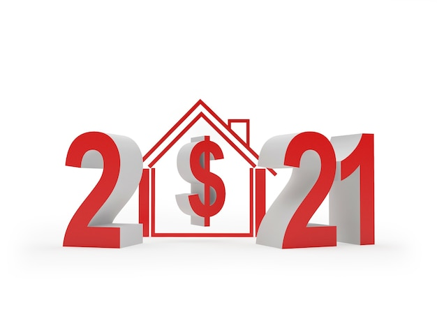 Number 2021 and house icon with dollar sign 3d