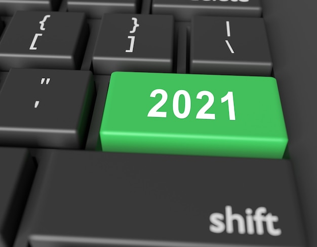 Number 2021 is written on a computer keyboard. new year image on a computer key enter