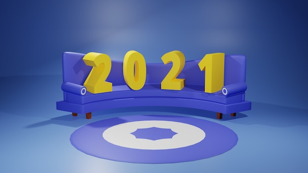 Номер 2021 на диване с ковром и синий диван