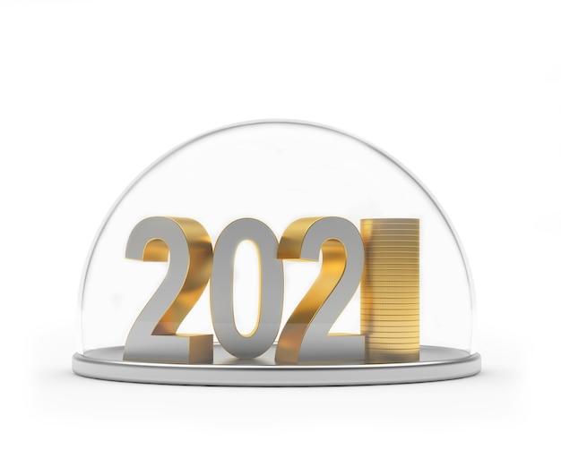 Номер 2021 со стопкой монет под прозрачным куполом